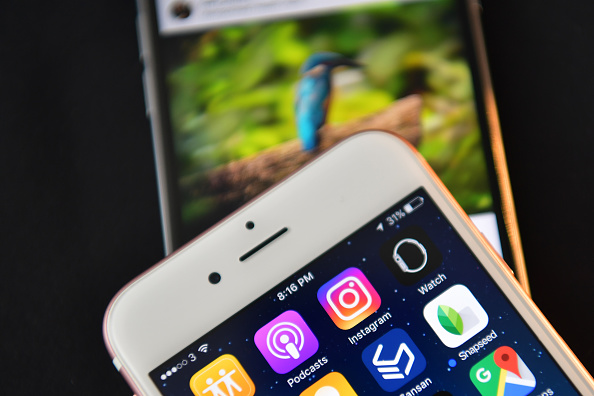 LONDON, ENGLAND - AUGUST 03:  The Instagram app logo is displayed next to an
