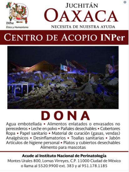 Conoce los centros de acopio para damnificados por el sismo